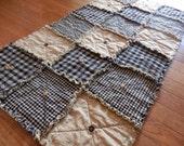 Prim Table Runner, Black Homespun, Country Primitive Rag Quilt Style, Button Adorned, Handmade in NJ