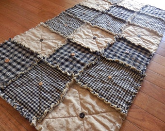 Prim Table Runner, Black Homespun, Country Primitive Rag Quilt Style, Button Adorned, Handmade in NJ