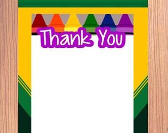 Crayon,Thank You Notes,  Crayon, Crayon Thank You, Crayon Party,Thank You Note, Crayon Box, Thank You, Crayon Box, 4x6, PDF, JPG