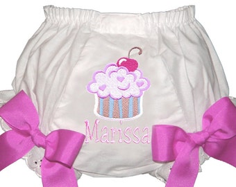 Personalized Cherry Heart Cupcake Baby Girl  Bloomers, Diaper Cover