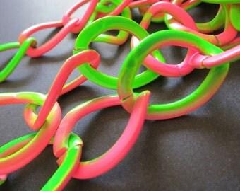 3ft Large Pink Green Aluminum Jewelry Flat Oval Chain 23x31mm - K920-CJ010