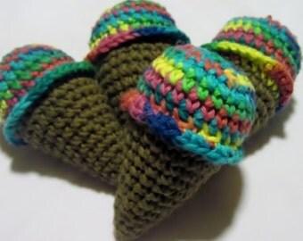 Crochet Cotton Mini Ice Cream Cones- Set of 4