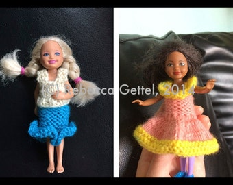 Doll Clothes Knitting Pattern for Chelsea, Barbie's Little Sister