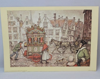 ANTON PIECK - Spui Amsterdam - Puppet Cart in the square - PRINT - perfect for framing