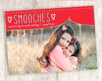 Smooches Valentine's Day Photo Card, Cute Valentine Picture Greeting - DIY Printable, Print Service Available || Smooches Doodle Delight