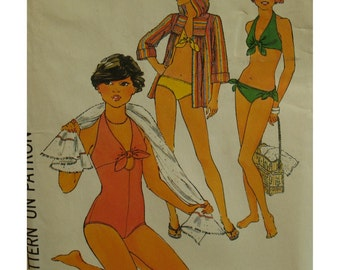 Halter Bathing Suit Pattern, Keyhole, Tie Front Bikini, Vintage 1970s, Hooded Beach Jacket, Simplicity No.8028 UNCUT Size 12