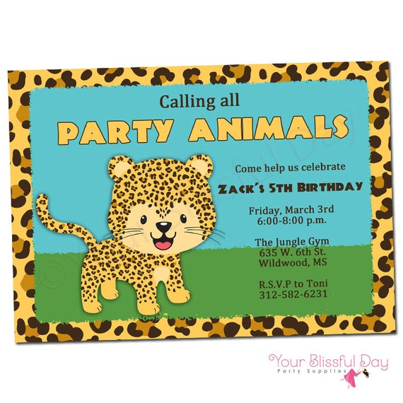 PRINTABLE Leopard Party Invitations (Boy or Girl) #546