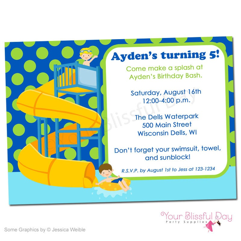 PRINTABLE Boy Waterpark Party Invitation 598 – Water Park Party Invitations