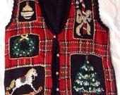 Ugly Xmas Plaid Sweater Vest w/Bead Embellishments - Medium