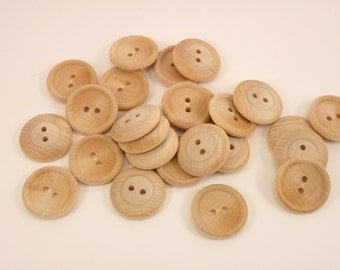 "25 Wood Buttons 1"" Two Hole 25.4 mm Unfinished Wood"