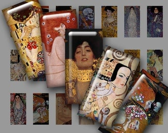 "Digital Printable .75x1.5"" GUSTAV KLIMT Paintings mini domino collage sheet for Pendants Magnets Crafts...Art Nouveau Vienna Secessionist"