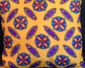"""hand Painted Silk Throw Pillow -  """"Mexican Tile""""- Made-to-order"""