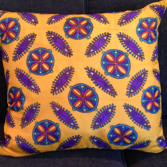 MEXICAN TILES -Decorative Hand Painted Silk Pillow - Made-to-order