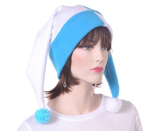 Turquoise White Harlequin Hat Two Pointed Jester Cap with Pompoms