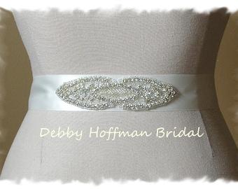 Rhinestone Crystal Beaded Bridal Sash, Belt, Wedding Dress Belt, Wedding Sash No. 4030S1.5, Wedding Accessories, Wedding Party Belts, Sashes
