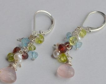 Pink Quartz, Garnet, Pearl, Peridot and Topaz Earrings