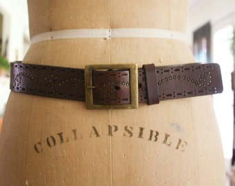 Studded Brown Leather Belt