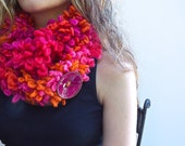 Valentine's Pink Circle Scarf, Orange Infinity Scarf, Double Layer scarf with Large Button