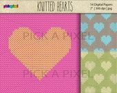 Knitted Hearts - Digital clip art - Personal and Commercial Use - knitted Pattern