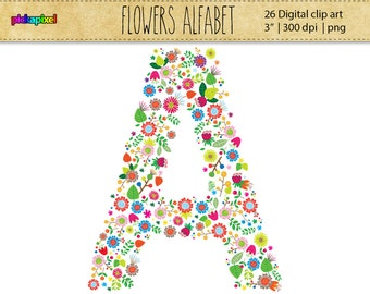 Flower Alphabet A-Z - digital clip art  - personal and commercial use - Floral Initial