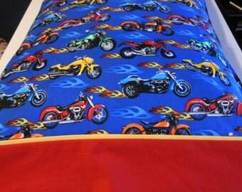 Pillowcase Flaming Motorcycles Standard Size