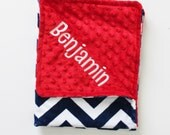 Personalized DOUBLE MINKY Midnight Blue and White Chevron with Red MInky Blanket or Lovey - Or Choose Your Colors