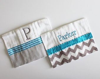 2 Personalized Burp Cloth Set in Turquoise and Gray - Chevron and Polka Dots