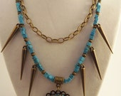Turquoise Chain and Spikes Necklace