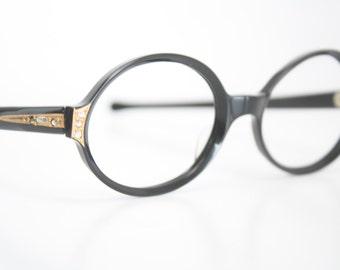 Black Rhinestone cat eye eyeglasses  vintage cat eye glasses frames Cateye frames