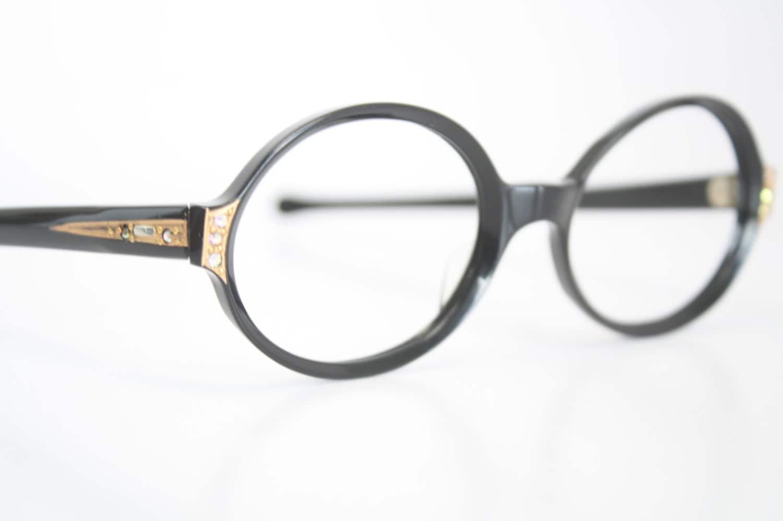 Cat Eye Rhinestone Eyeglass Frames : Black Rhinestone cat eye eyeglasses vintage cat eye glasses
