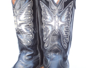 MINT Beautiful vintage Miss Capezio butterfly cutout black leather womens cowboy boots 7 M