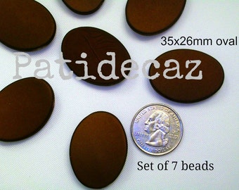Brown - Oval Beads - 35x26mm - Rubber Coated Acrylic Beads - set of 7 beads