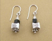 Sterling cube and onyx earrings