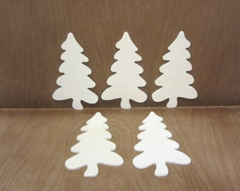 Wooden Folk Trees Unfinished Lot Of 5