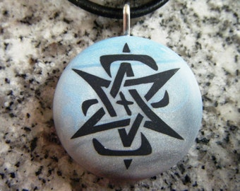 Star of David designer hand carved  on a polymer clay grey and blue blend background. Pendant Comes with a FREE necklace