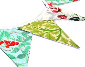 SALE Retro Bunting Vintage fabric with  50s Rose Barkcloth and Laura Ashley Fabrics