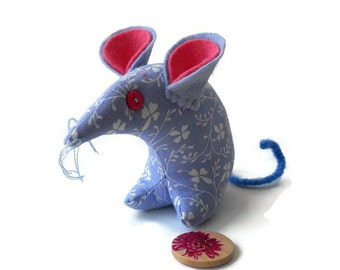 A Vintage Mouse ? A  Country  Mouse? THIS mouse in Blue Daisy Laura Ashley VIntage Fabric
