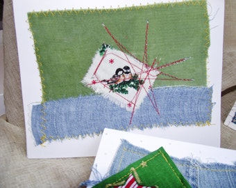Holiday Cards Christmas Cards fabric scrap sewn greeting cards original art cards abstract blank cards 5 x 7 cardstock blue green birthday
