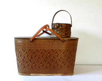 Vintage 1940s/1950s Large Redmon Woven Wicker Picnic Basket