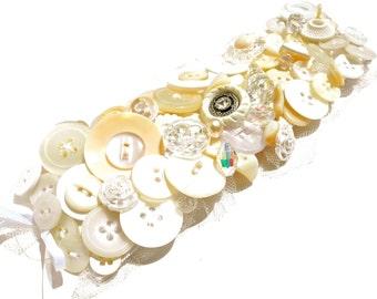 Chunky Button Jewelry Bracelet by Dabchick Vintage Gems on Etsy