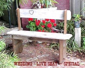 WEDDiNG BeNCH - WOW!! FREE SHIPPING - Country Primitive - Bride/Groom Love Seat! - Crafted for Family / Guests to Sign - Memories 4 Ever!