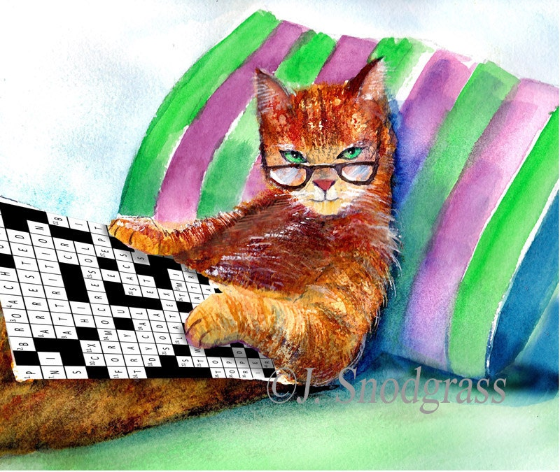 ?zoom & Cat with glasses Crossword Puzzle Cats whimsical cat 25forcollege.com