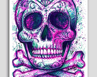Tattoo Art PopArt Neon Death Sugar Skull Flash Poster 18x24 in Signed Art Print Dia De Los Muertos Colorful Electric Skeleton Decor Wall Art