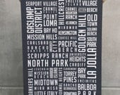 Full San Diego Neighborhood Poster  / Large - 27.5 x 39.25 inches