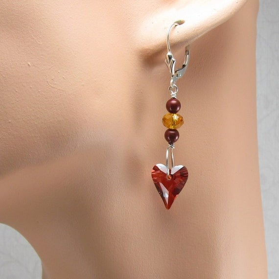Topaz, Bordeaux and Red Magma Heart Sterling Silver Earrings