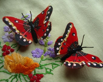 Red feather butterfly hairclips