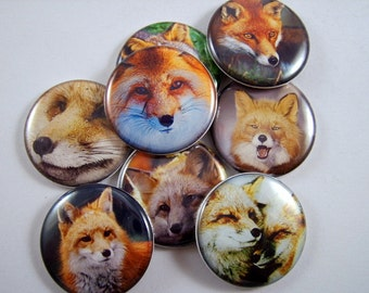 "1"" Inch Foxes Flat Back Buttons, Pins, or Magnets 12 ct."