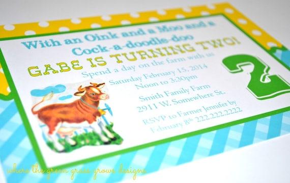Farm Invitations Vintage Style