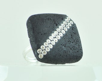 Square Black Lava Rock Ring with Clear Swarovski Crystals, Adjustable Silver Plated Band Size 6, 7, 8, and 9, Unique Large Statement Ring