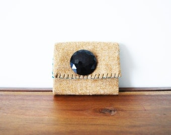 CLEARANCE--Upcycled Camel Wool Trifold Clutch Wallet with Large Black Button